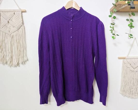 Vintage puffed-shoulders purple mohair sweater fr… - image 6