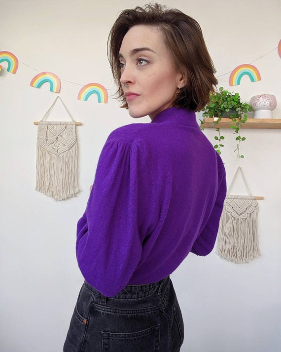 Vintage puffed-shoulders purple mohair sweater fr… - image 3