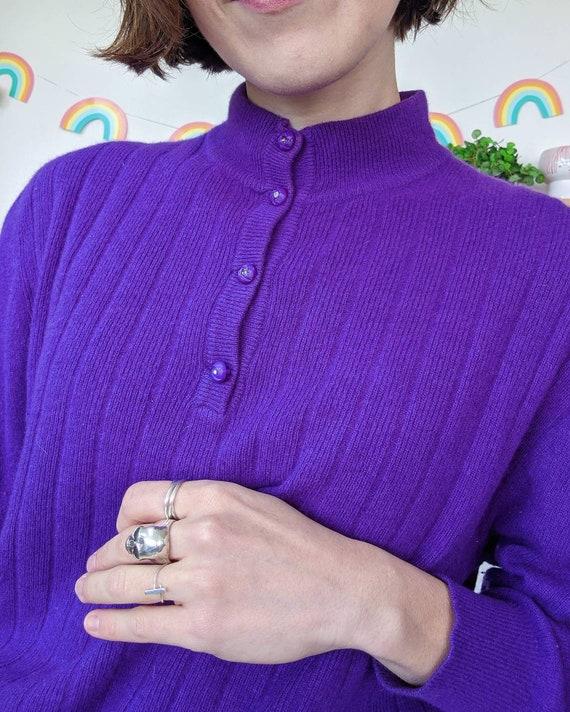 Vintage puffed-shoulders purple mohair sweater fr… - image 5