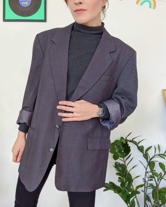 Vintage unisex oversized grey blazer from the 90s