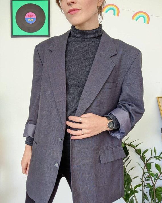 VINTAGE 1990s // unisex oversized grey blazer - image 2
