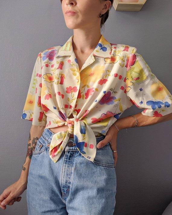 VINTAGE 1990s / Women's Polyester Flower Shirt