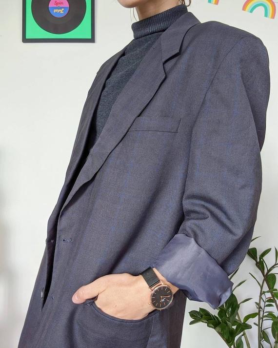 VINTAGE 1990s // unisex oversized grey blazer - image 7