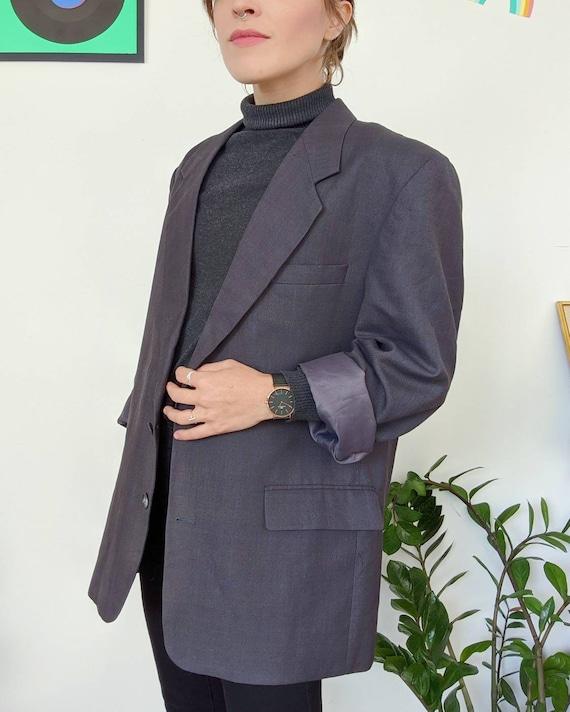 VINTAGE 1990s // unisex oversized grey blazer - image 5