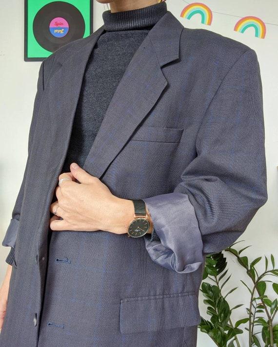 VINTAGE 1990s // unisex oversized grey blazer - image 3