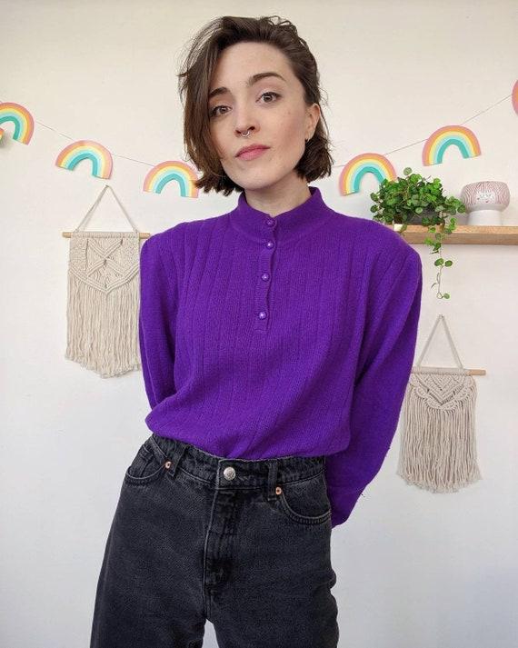 Vintage puffed-shoulders purple mohair sweater fr… - image 1