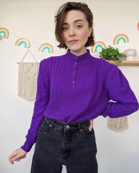 Vintage puffed-shoulders purple mohair sweater fr… - image 2