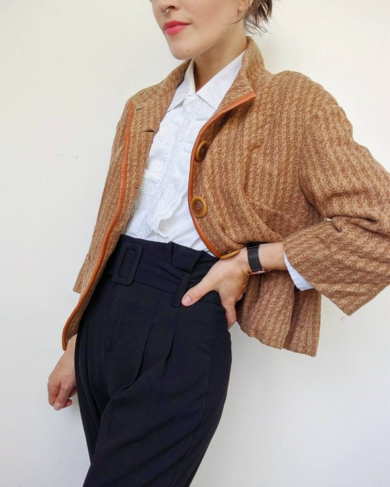 VINTAGE 1990s // brown wool and leather jacket for