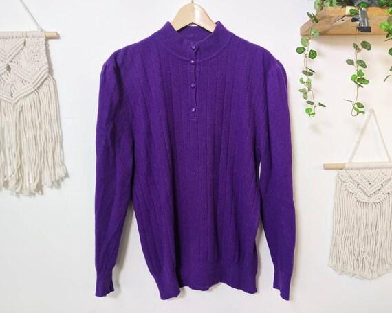 Vintage puffed-shoulders purple mohair sweater fr… - image 7
