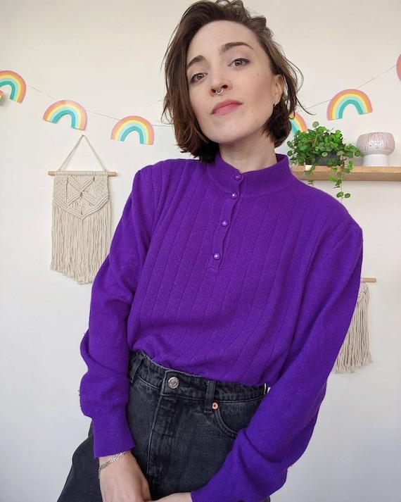 Vintage puffed-shoulders purple mohair sweater fr… - image 4