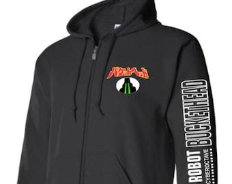 65a9104b Buckethead Giant Robot Laser Eyes Zip Up hoodie