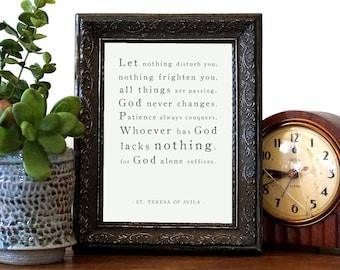 St. Teresa Print, Let Nothing Disturb You Print, Saint Quote Prints, Catholic Prints, St. Teresa of Avila, Saint Quotes, Catholic Art