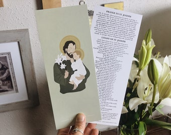 St. Joseph Prayer Card, Litany of St. Joseph, St. Joseph Bookmark, Saint Joseph Prayer, Catholic Prayer Cards, Catholic Bookmark, Holy Card