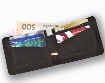 Genuine leather bifold wallet, dark brown leather