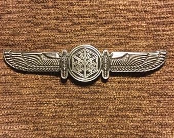 Bass wings sacred geometry hat pin