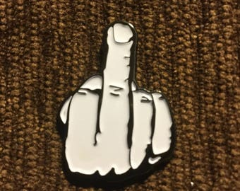 Johnny Cash middle finger hat pin