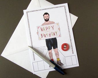 Tattoo Man Birthday Card and Badge