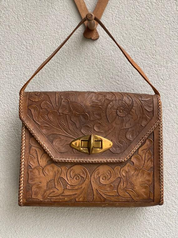 Vintage tooled handbag