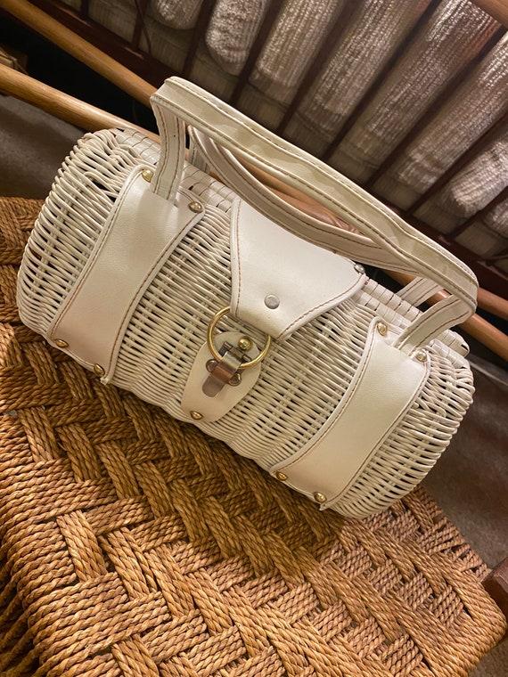 Vintage Hong Kong white wicker like handbag