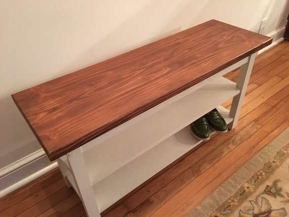 Cool Hallway Entryway Foyer Storage Bench 40 Inch With Two Shoe Shelves In Your Choice Of Color Ibusinesslaw Wood Chair Design Ideas Ibusinesslaworg