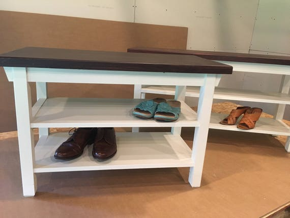 Incredible Hallway Entryway Foyer Storage Bench 32 Inch With Two Shoe Shelves In Your Choice Of Color Andrewgaddart Wooden Chair Designs For Living Room Andrewgaddartcom
