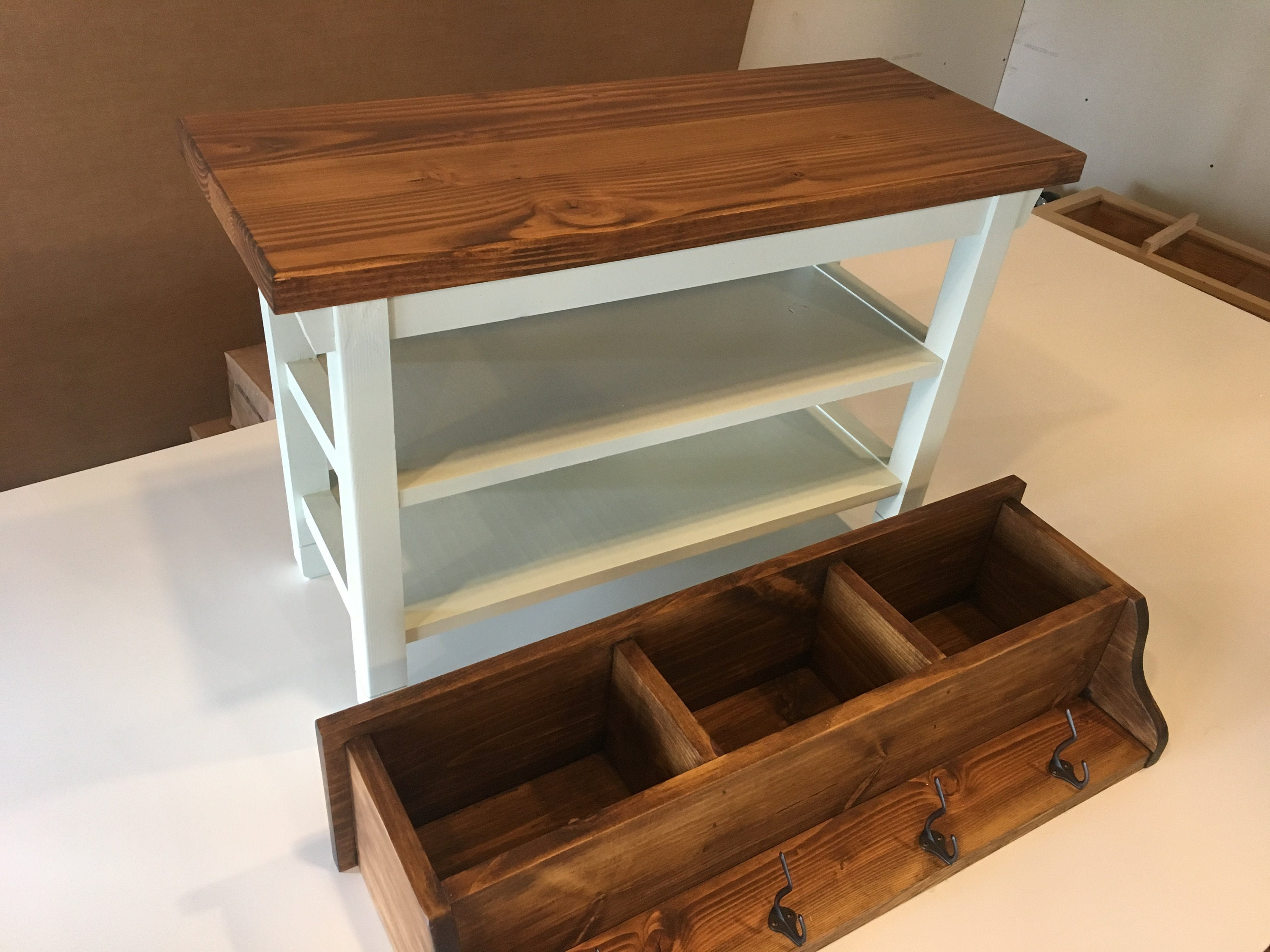 Excellent Hallway Mud Room Foyer Bench 34 Inch Reduced Width With Two Shoe Shelves And Matching Coat Rack Cubbies In Your Choice Of Colors Uwap Interior Chair Design Uwaporg
