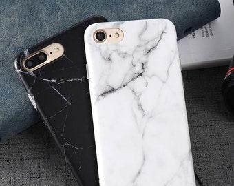 98f74caf8a5ba0 Beautiful Black or White Marble Stone Phone Case for iPhone 6,7,8,(Plus)  iPhone X XS with Raised Lip Screen Protection | Ships FAST from USA