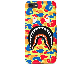 Rainbow Camo Bathing Ape BAPE Shark Mouth Phone Case | iPhone 6 6S Plus 7 7+ 8 8+ X | Samsung Galaxy S6 S7 Edge | Ships from New York USA