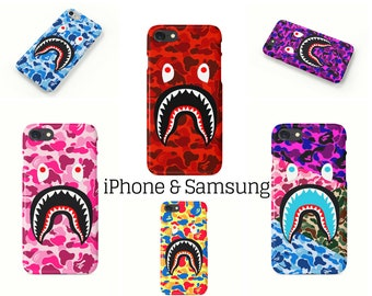 9 Colors Bape Camo Shark Mouth BATHING APE Phone Case Cover| iPhone 6 6s 7 7+ 8 8+ X | Samsung Galaxy S6, S7, S7 Edge, Note 7 | Ships Fast