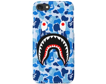 Blue Camo Bathing Ape BAPE Shark Mouth iPhone 6 6S Plus 7 7+ 8 8+ Case US SELLER | Now Available for iPhone X
