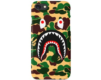 Green Camo Bathing Ape Shark Mouth Phone Case | iPhone 6 6s 7 7+ 8 8+ X | Samsung Galaxy S6, S7, S7 Edge, Note 7 | Ships from USA
