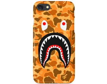 Orange Camo Bathing Ape Shark Mouth Phone Case | iPhone 6 6s 7 7+ 8 8+ X | Samsung Galaxy S6, S7, S7 Edge, Note 7 | Ships from USA