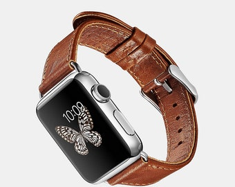 Custom Genuine Leather (38mm) Apple Watch Band  | Personalized Gift | Engraving | Name | Monogram
