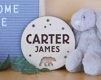 Custom Baby Name Sign   Engraved Wood, Birth Announcement Sign, Gender Neutral Baby Sign, Adventure Awaits Theme, Bear And Stars