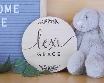 Custom Baby Name Sign   Engraved Wood, Birth Announcement Sign, Newborn Hospital Sign, Prop For Newborn Baby Photos, Vine