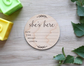 Birth Stats Sign   Engraved Wood, Birth Announcement Sign, Hospital Announcement Sign, Newborn Wood Stat Sign, She's Here, Vine Style