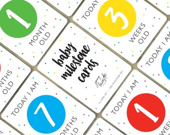 Digital Baby Milestone Cards   Primary Colors, Age Milestone Cards, Baby Shower Gift, Baby First Year, Photo Prop, Instant Download