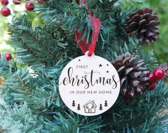 First Christmas In Our New Home Ornament   New Home, Laser Cut Ornament, Personalized Ornament, Keepsake Ornament, Trees And Stars Style