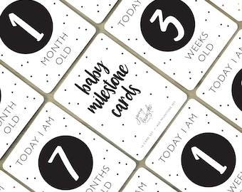 Digital Baby Milestone Cards   Black And White, Age Milestone Cards, Baby Shower Gift, Baby First Year, Photo Prop, Instant Download