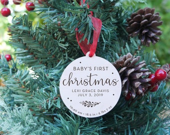 Baby's First Christmas Ornament   New Baby, Personalized Ornament, Keepsake Ornament, Wood Engraved Ornament, Name And Stats Style