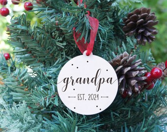 New Grandparent Ornament   Grandma Ornament, Grandpa Ornament, New Grandma Gift, Baby Announcement, Laser Engraved Wood Ornament