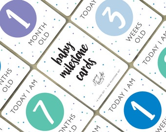Digital Baby Milestone Cards   Cool Colors, Age Milestone Cards, Baby Shower Gift, Baby First Year, Photo Prop, Printable, Instant Download