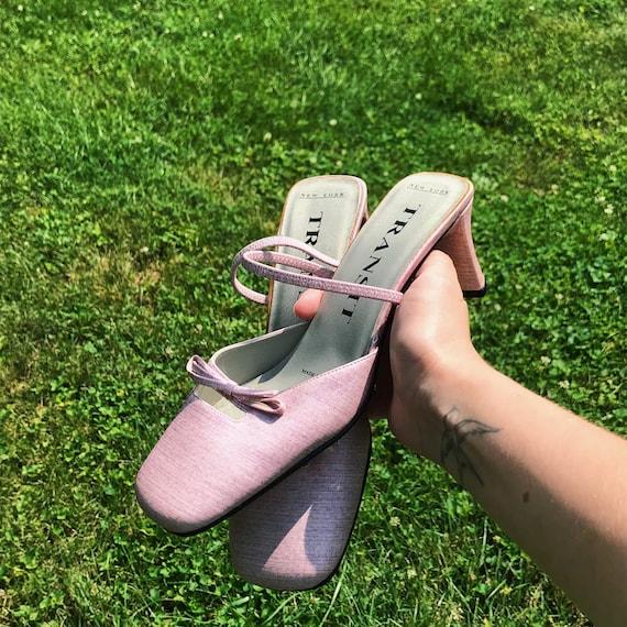 Vintage 90s Pink Block Heel Slip On Mules US 6