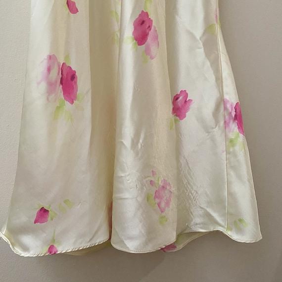 Vintage Pastel Floral Silky Slip Dress - image 4