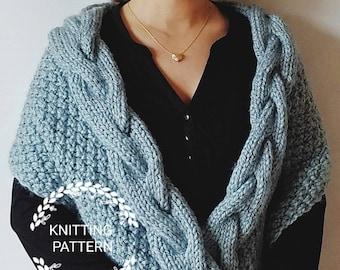 KNITTING PATTERN / Helena Shawl Pattern / Braided Cable Shawl Pattern/ Braided Cable Scarf Pattern / Scarf Pattern / Shawl Pattern
