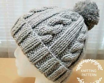 KNITTING PATTERN / Winter Snow Cable Hat Pattern / Knit Hat Pattern/ Knitted Hat Pattern / Hat Pattern / Knit Pattern
