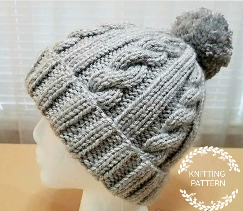 d44344fd KNITTING PATTERN / Winter Snow Cable Hat Pattern / Knit Hat | Etsy
