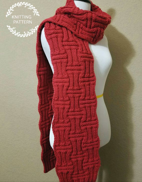 Knitting Pattern Bamboo Forest Scarf Pattern Knit Scarf Etsy