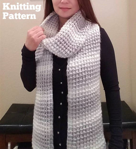 Knitting Pattern Knit Mini Bamboo Pattern Knit Scarf Etsy
