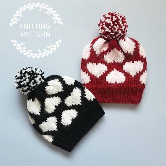 Knitting Pattern Valentines Heart Hat Pattern Knit Etsy